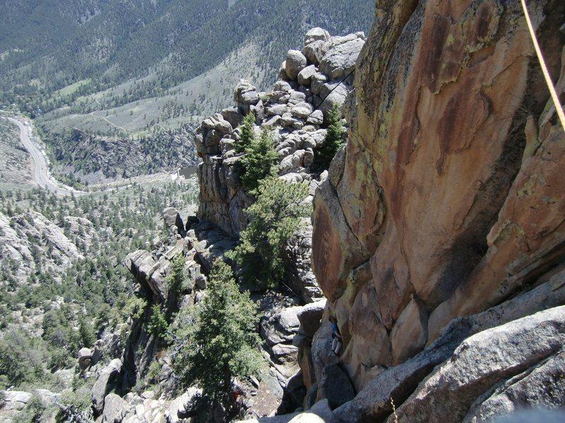Rock Climbing Photo: Matt at the base of the dual flares, 5-22-10.