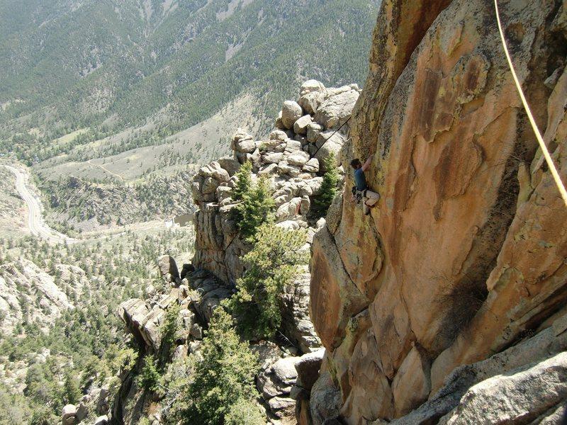 Rock Climbing Photo: Matt on the headwall splitter, 5-22-10.
