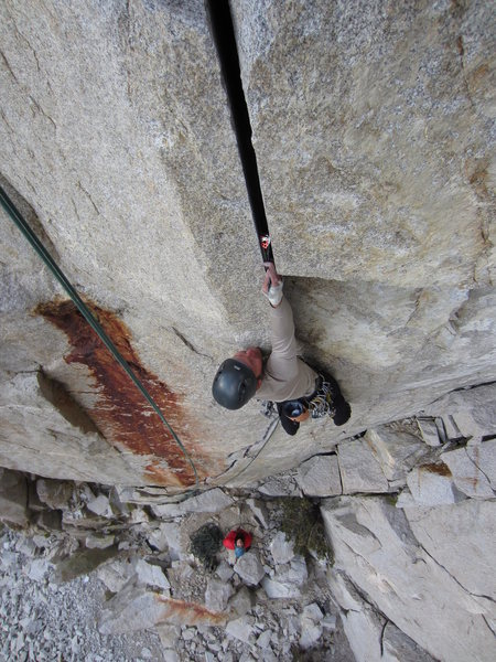 Rock Climbing Photo: Me placing a cam at the crux - photo courtesy G. H...