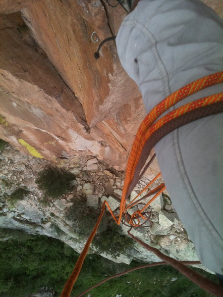 Rock Climbing Photo: View from pitch I belay, wildly overhung.
