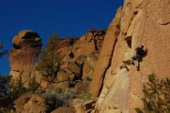 Rock Climbing Photo: Working the arete of Reason To Be with Monkey Face...