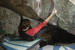 Rock Climbing Photo: Chris trying the project from 3-4 moves in.