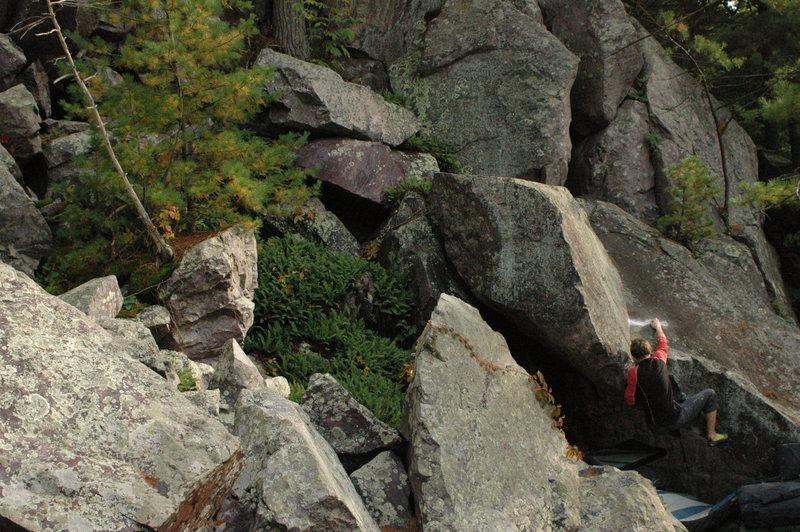 Rock Climbing Photo: Chris on the mantle.