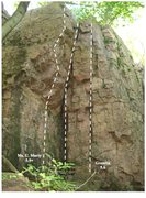 Rock Climbing Photo: Photo showing three of the routes in the Hideout, ...