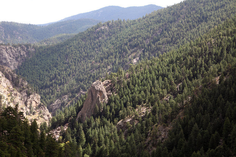 Rock Climbing Photo: Cob Rock as seen from the top of Happy Hour Crag. ...