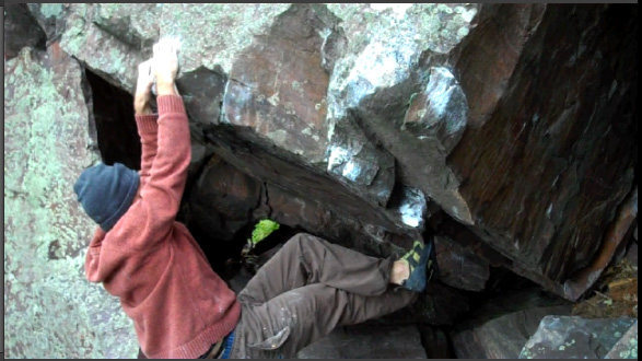 Rock Climbing Photo: Working some toe hooks
