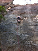 "Rock Climbing Photo: Climbing up ""Black and Dicey"" 5.10b/c"