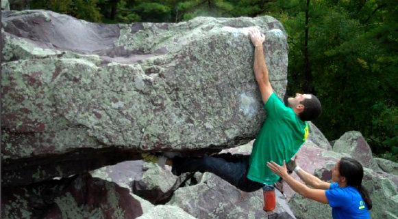 Rock Climbing Photo: Sticking the thrutch move.