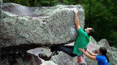 Rock Climbing Photo: Sticking the thrutch move.