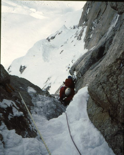 Rock Climbing Photo: Jeff Burton on the Harvard route west face Mt Hunt...
