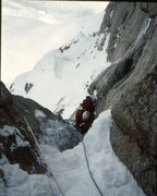Rock Climbing Photo: Jeff Burton on the Harvard route west face Mt Hunt...