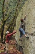 Rock Climbing Photo: Pale Face V2 - Hunter Creek Boulders, Hope