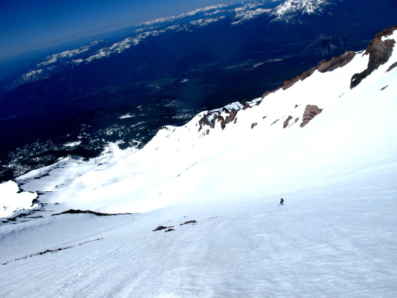skiing down avalanche gulch (mt shasta, CA)
