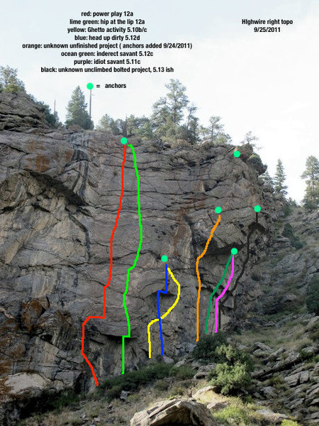 This is an updated topo of High Wire Right.  More routes are going in now, so I will update in the next week or two.