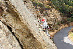 Rock Climbing Photo: Kathleen steps onto the delicate slab section of T...