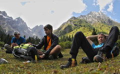 Rock Climbing Photo: The team rests after arriving to basecamp