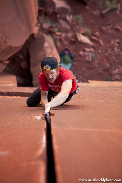 Rock Climbing Photo: Andy Hansen gives Pente a go on his second day cli...