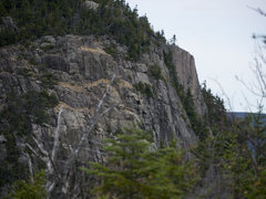 Rock Climbing Photo: The main face of Stairs Mountain.  I believe the B...