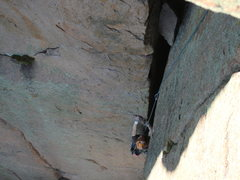 Rock Climbing Photo: Phil following P1. Can you say offwidth?