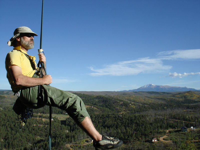 Me rap'g down after the 2nd pitch w Pike's Peak in the BG.