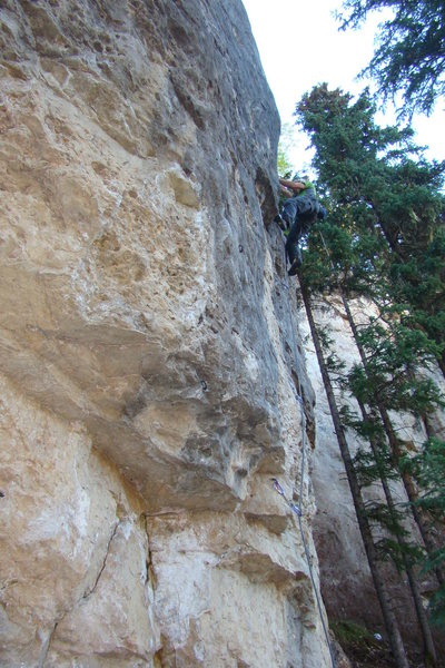 Buffalo Sloper, 5.13b/c<br> Spearfish Canyon,SD.