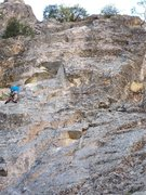 Rock Climbing Photo: JSt on the FA.  Note how far left he is.  He is st...