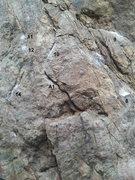 Rock Climbing Photo: Beta Pic 3: Sequence is R1, L2, R3, L4, R5, L6, R7...