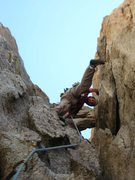 Rock Climbing Photo: Alan Ream just below the chockstone on the second ...