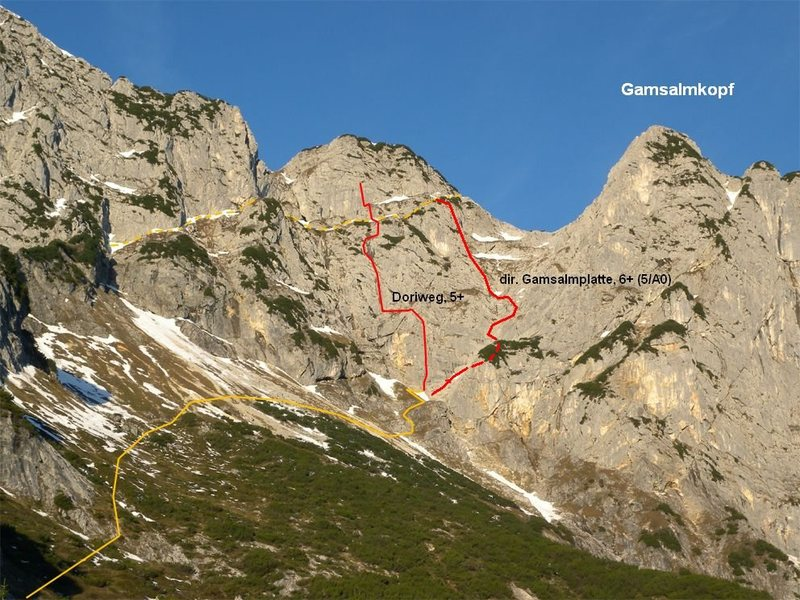 Rock Climbing Photo: The approach and descent (in yellow) as well as ge...