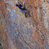 Going from Steep to STEEPER! <br> Allen Riling at the crux of<br> Corn on the Cobble (5.11)