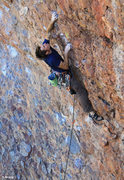 Rock Climbing Photo: Allen moves into the crux of Corn on the Cobble (5...