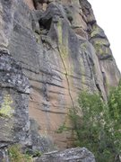 Rock Climbing Photo: The splitter up the middle of the face is Arthriti...