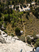 Rock Climbing Photo: Parking and approach at Parking Lot Rock, as seen ...
