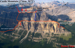 Rock Climbing Photo: Overview of trails (orange), Brewer Buttress locat...
