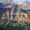 "Overview of trails (orange), Brewer Buttress location (blue), and correct descent gully. The ""fire lookout"" approach is 2.5 hours to the hut. The Rockbound Lake approach is 4-5 hours to the hut and only a good option for Eisenhower Tower."