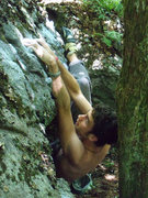 "Rock Climbing Photo: Aaron working the FA of ""Brutal Business&quot..."