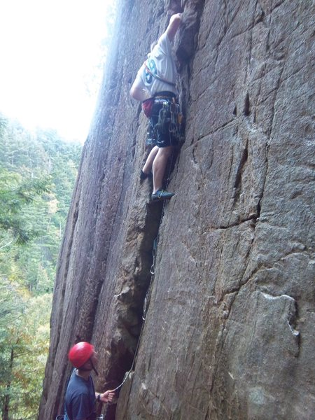 Rock Climbing Photo: Ben Botelho on his first lead. Jugs of Beer(5.3), ...