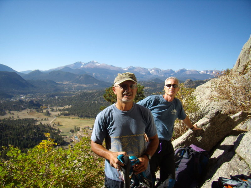 Mike C. and Doug D. at the Central Chimney.  Twin Owls, Lumpy Ridge.  Sept 25th 2011.