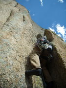 Rock Climbing Photo: Bill making the first pitch of Crack of Fear look ...
