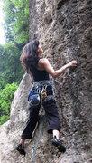 Rock Climbing Photo: Not a good warm-up.  No guidebooks make things mor...