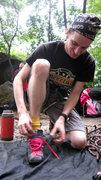 Rock Climbing Photo: Matt and his super, spiderman shoes