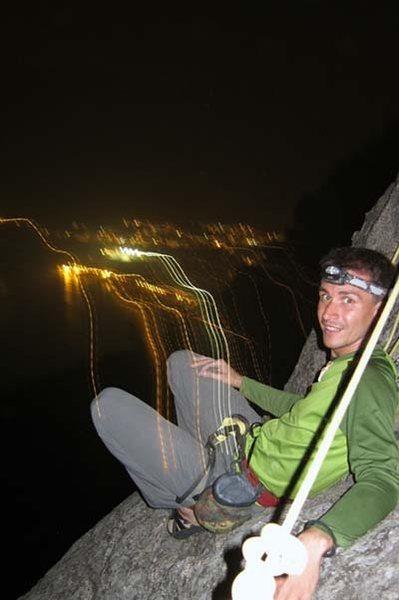 with Cosmin, night climbing on Lantau; SUPERB!