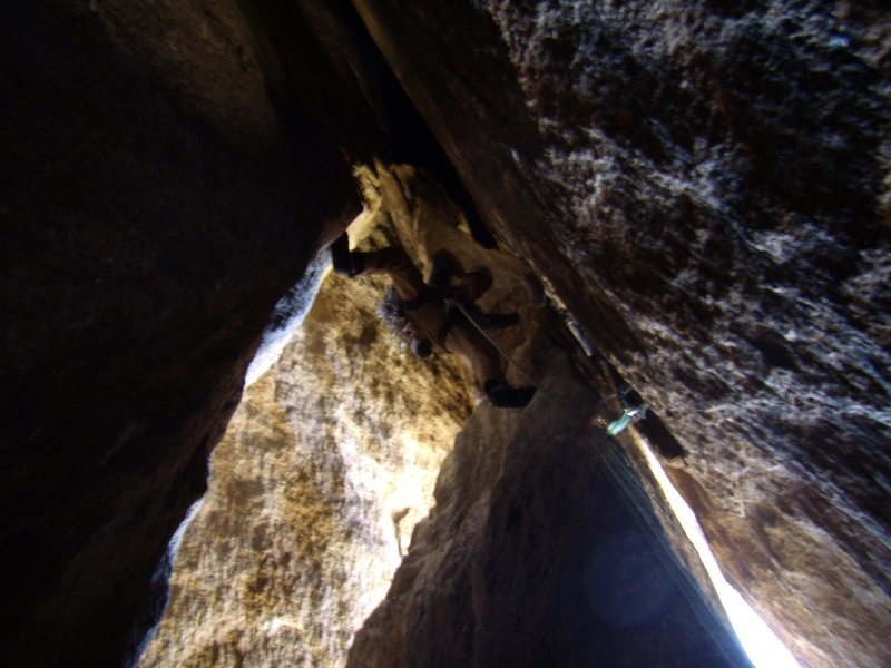 Looking up the first pitch in the chimney.  A tad R'ish.  Stem'O'rama! Photo courtesy of Alan Ream.