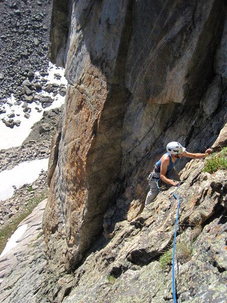 Rock Climbing Photo: Jason following the short third pitch.