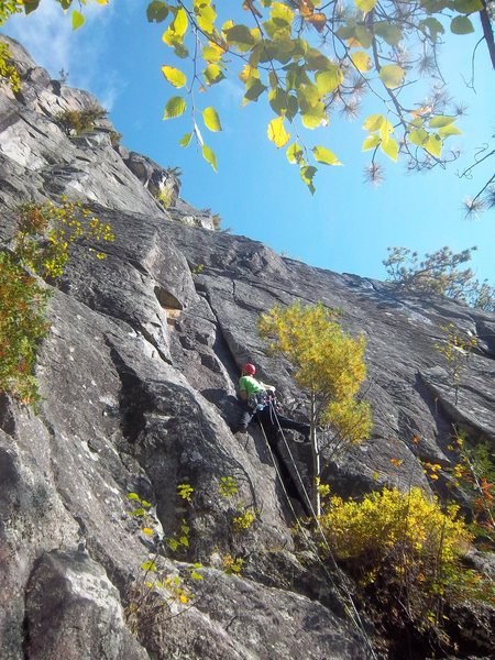 Starting up P1 of Quadrophenia(5.7+), Hurricane Crag, Adirondacks, NY