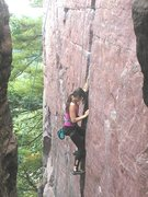 Rock Climbing Photo: Caroline Lutz on Birch Tree Crack, 5.8