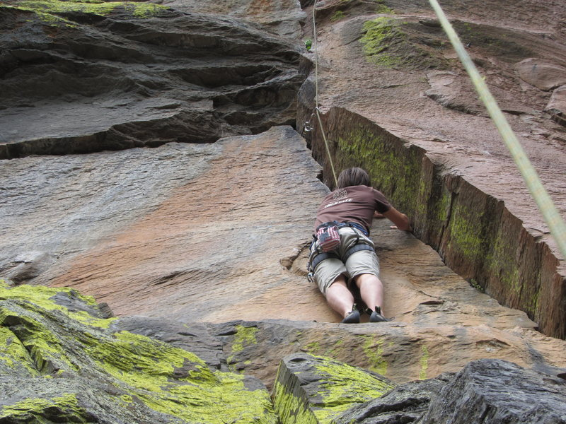 Rock Climbing Photo: Paulius starting up Dawg Daze