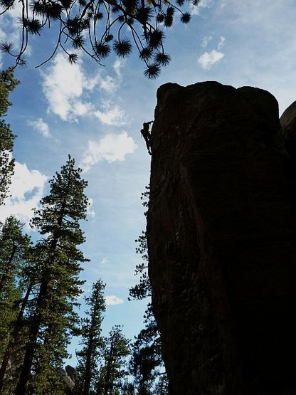 Sky surfing on Ruffles (5.10a), Clark Canyon
