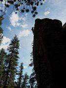 Rock Climbing Photo: Sky surfing up Ruffles (5.10a), Clark Canyon