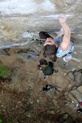 Rock Climbing Photo: Alexa eyeing a move to what always feels like a sl...